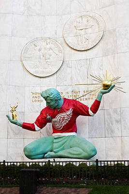 Jmp Photograph - Spirit Of Detroit In Red Wing Jersey by James Marvin Phelps