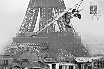 Single Engine Mixed Media - Spirit Of St. Louis Flies Past The Eiffel Tower Art Print by Thomas Pollart