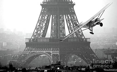 Photograph - Spirit Of St. Louis Flies Past The Eiffel Tower  by Doc Braham