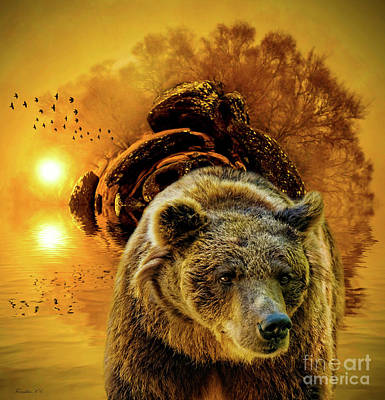 Grizzly Bear Mixed Media - Spirit Of The Bear by KaFra Art