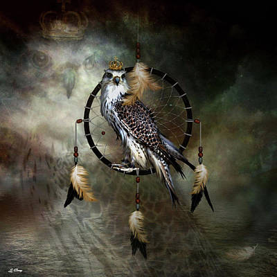Catcher Mixed Media - Spirit Of The Hawk Dreamcatcher by G Berry