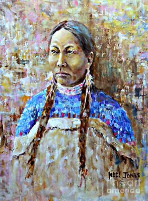 Native American Spirit Portrait Painting - Spirit Of The Lakota by Neil Jones