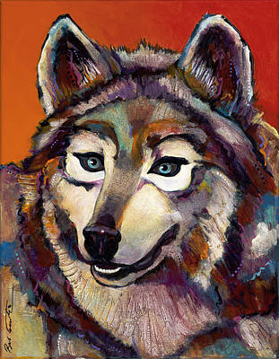 Abstract Wildlife Painting - Spirit Of The Wolf by Bob Coonts