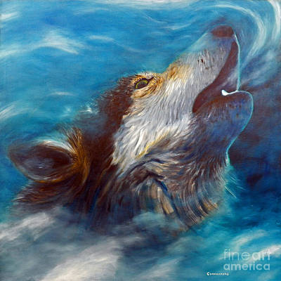Visionary Painting - Spirit Of The Wolf by Brian  Commerford