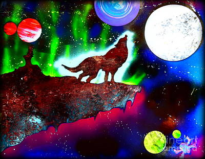 Handcrafted Painting - Spirit Of The Wolf Vibrant by Justin Moore