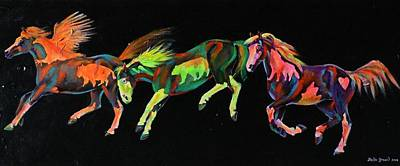Pinto Painting - Spirit Ponies by Louise Green