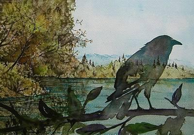 Crows Painting - Spirit Raven by Carolyn Doe