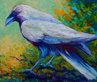 Crow Painting - Spirit Raven by Marion Rose
