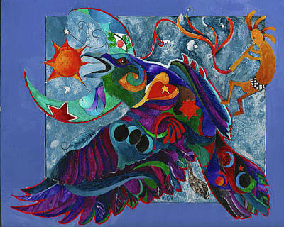 Painting - Spirit Raven Totem by Sherry Shipley