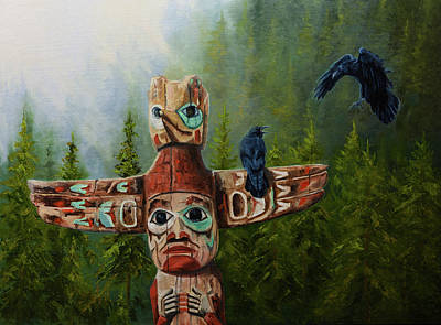 Alaska Totem Pole Painting - Spirit Ravens by Dan Twitchell