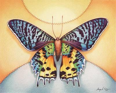 Moth Drawing - Spirit Sunrise by Amy S Turner