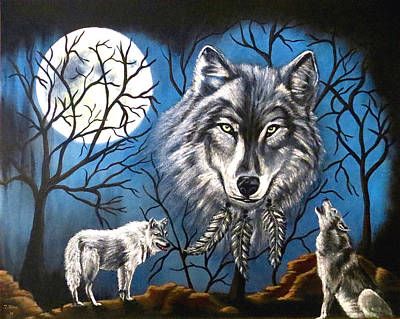 Art Print featuring the painting Spirit Wolf by Teresa Wing