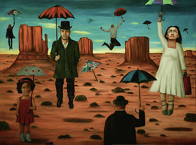 Art Print featuring the painting Spirits Of The Flying Umbrellas 3  by Leah Saulnier The Painting Maniac