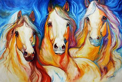 Palomino Horse Painting - Spirits Three by Marcia Baldwin