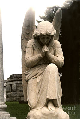 With Photograph - Spiritual Guardian Angel Kneeling In Prayer  by Kathy Fornal