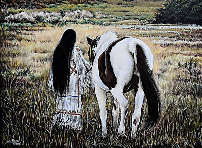 Native Women Drawing - Spiritual Sunset Stroll by Andrew Read