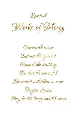 Digital Art - Spiritual Works Of Mercy White Background by Rose Santuci-Sofranko