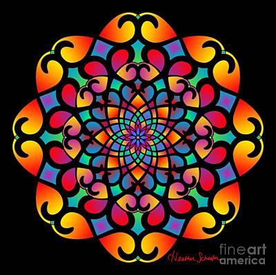 Digital Art - Spirograph Swirls Mandala by Heather Schaefer