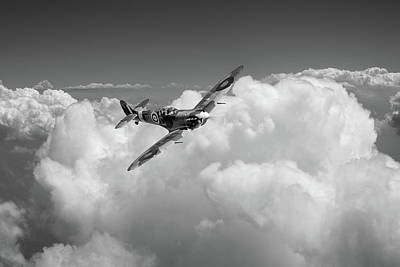 Photograph - Spitfire Above Clouds Bw Version by Gary Eason