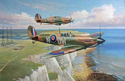 Painting - Spitfire And Hurricane 1940 by Mike Jeffries