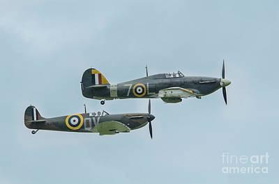 Ww11 Aircraft Photograph - Spitfire And Hurricane by Simon Pocklington