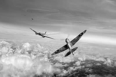 Art Print featuring the photograph Spitfire Attacking Heinkel Bomber Black And White Version by Gary Eason