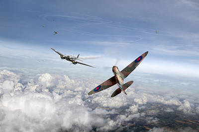 Bf-109 Digital Art - Spitfire Attacking Heinkel Bomber by Gary Eason