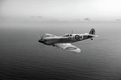 Photograph - Spitfire En152 Over Gulf Of Tunis Black And White Version by Gary Eason