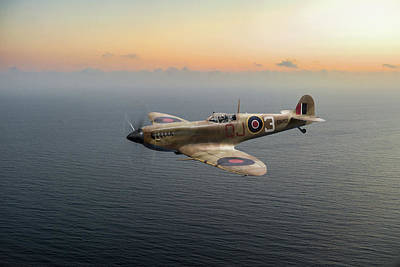 Photograph - Spitfire En152 Over Gulf Of Tunis  by Gary Eason