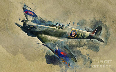 Cockpit Mixed Media - Spitfire  by Ian Mitchell
