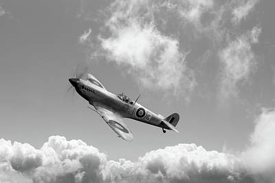 Photograph - Spitfire In Desert Colours Bw Version by Gary Eason