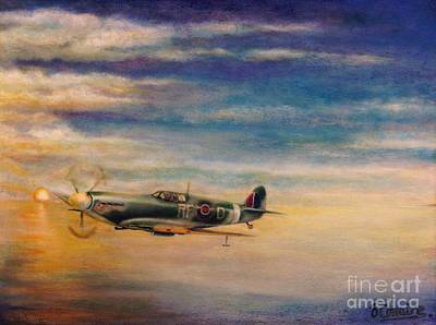Bono Painting - Spitfire In Flight by Liam O Conaire