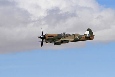 Spitfire In The Clouds Art Print by Shoal Hollingsworth