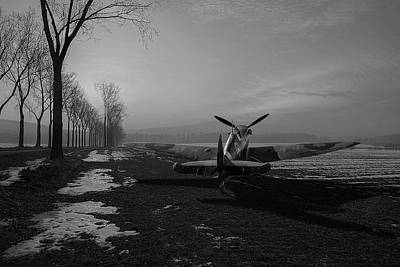 Photograph - Spitfire In Winter Black And White Version by Gary Eason
