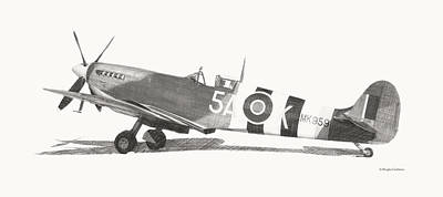 Digital Art - Spitfire Mark Ix Drawing by Douglas Castleman
