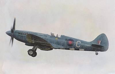 Royal Air Force Painting - Spitfire Mk19 by John Springfield