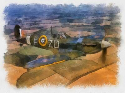 Spitfire Painting - Spitfire Over England by Esoterica Art Agency
