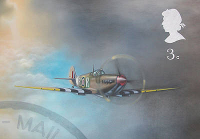 Spitfire Postage Stamp Art Print by Riek  Jonker