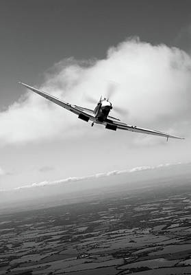 Photograph - Spitfire Poster Vertical Bw Version by Gary Eason