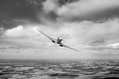 Photograph - Spitfire Poster Wide Bw Version by Gary Eason