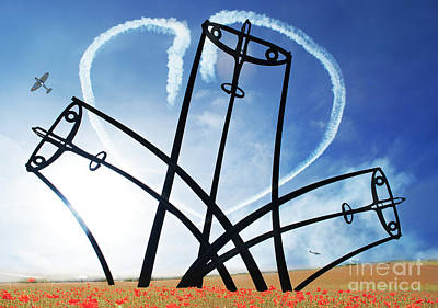 Spitfire Sentinel In The Field Of Poppies  Art Print by Eugene James