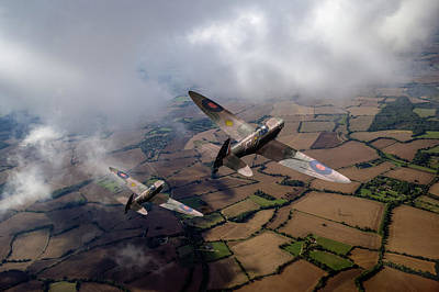 Photograph - Spitfires Among Low Clouds by Gary Eason