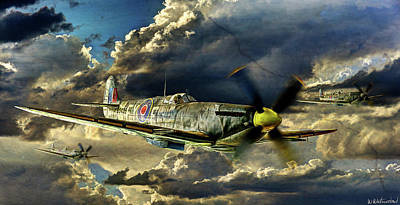 Photograph - Spitfires Coming From The Sun - Vintage Version by Weston Westmoreland
