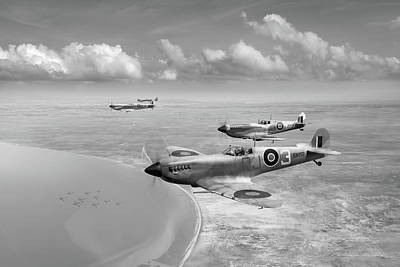 Photograph - Spitfires Over Tunisia Black And White Version by Gary Eason