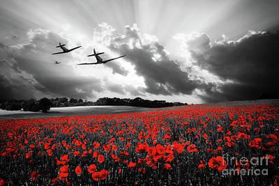 Remembrance Digital Art - Spitfires - The Last Mission by J Biggadike
