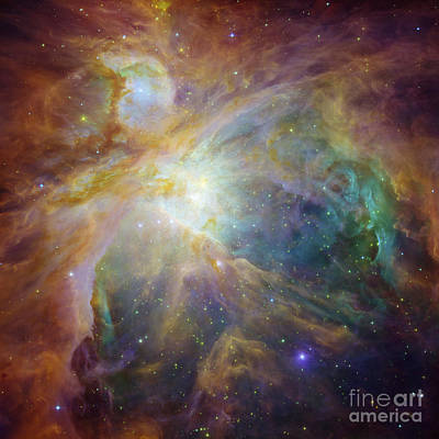 Spitzer And Hubble Create Colorful Masterpiece Art Print
