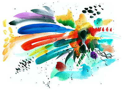 Splash In Abstract Watercolor Art Print by My Art