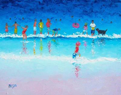 Children And Dog Painting - Splash by Jan Matson