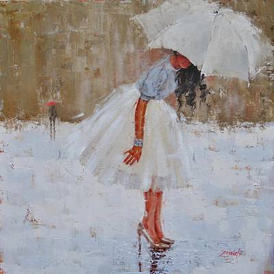 Umbrellas Painting - Splash by Laura Lee Zanghetti