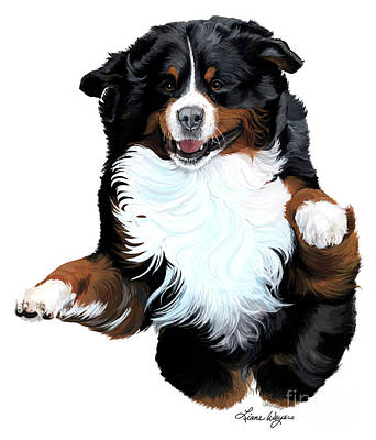 Bernese Mountain Dog Painting - Splash by Liane Weyers